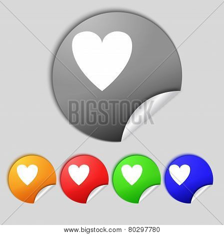 Heart Sign Icon. Love Symbol. Set Colur Buttons. Vector