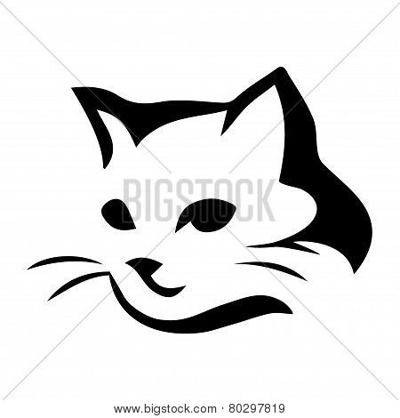 Stylized cat icon on white background