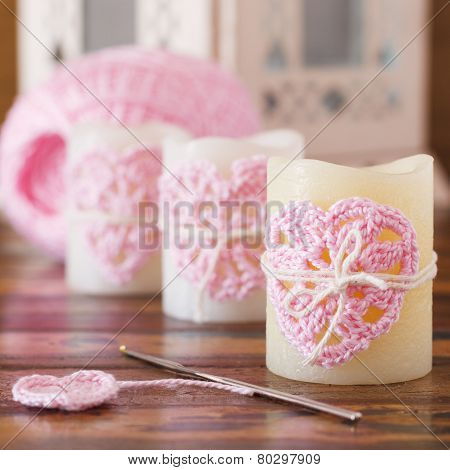 Handmade Crochet Pink Heart On Candle For Saint Valentine's Day With Skein