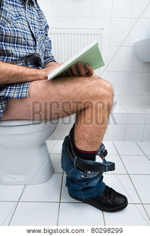 Man In Toilet Reading Book