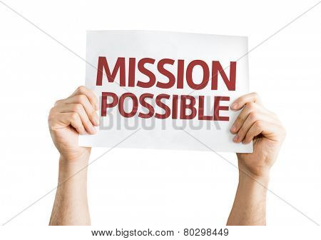 Mission Possible card isolated on white background
