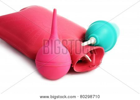 Medical Hot-water Bottle And Colonic Bulb For Procedures