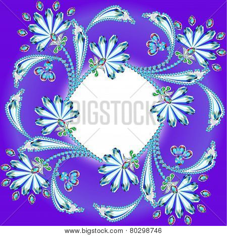 Background Frame With Flowers Made Of Precious Stones And Strip For Text