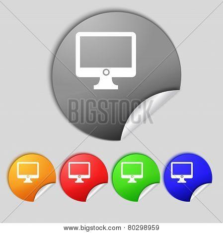Computer Widescreen Monitor Sign Icon. Set Colur Buttons. Vector