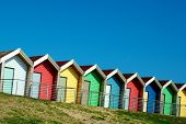 foto of beach hut  - Row of beach huts - JPG