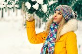 image of swag  - Young Woman Outdoor Winter Lifestyle in hat and mittens fashion clothing holding fir tree branch snow nature on background - JPG