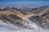 stock photo of shan  - Scenic view of glacier in Ala Archa national park in Tian Shan mountain range in Kyrgyzstan