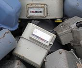 foto of landfills  - old obsolete disused gas counters in a landfill of toxic waste special - JPG