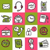 pic of helpdesk  - Contact us helpdesk telephone hotline service sketch icons set isolated vector illustration - JPG