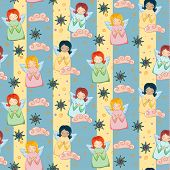 stock photo of little angel  - Seamless Pattern with Little Cute Angels - JPG