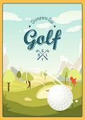 Постер, плакат: Golf Ball And A Beautiful Landscape Golf Club Poster For Sport Beautiful Sunny Day On The Golf Co