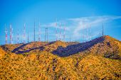 stock photo of antenna  - Communication Antennas on the Mountain - JPG