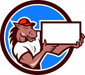 pic of bronco  - Illustration of a horse arms holding blank sheet board presenting set inside circle on isolated background done in cartoon style - JPG