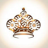 stock photo of beauty pageant  - Beautiful floral design decorated crown on shiny background - JPG
