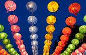 picture of buddha  - Hanging lanterns for celebrating Buddhas birthday The text on lantern means  - JPG