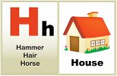 pic of kindergarten  - Alphabet letter H with clip - JPG