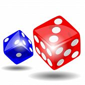 picture of crap  - Red and blue dice with shadow on white background illustration vector - JPG