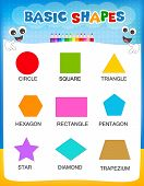 stock photo of kindergarten  - Collection of colorful geometric shapes and their names illustration isolated on white background for preschool  - JPG