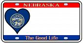 picture of nebraska  - Nebraska state license plate in the colors of the state flag with the flag icons over a white background - JPG