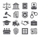 pic of tribunal  - Gray Law icons set on white background - JPG