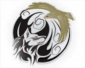 stock photo of white wolf  - Illustration A tribal wolf tattoo in blue on white background - JPG