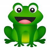 picture of cute frog  - Illustration of a cute smiling frog isolated on white background - JPG
