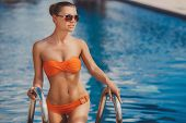 stock photo of woman bikini  - Beautiful young woman  - JPG