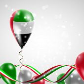 picture of balloon  - Flag of United Arab Emirates on balloon - JPG