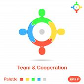 pic of work crew  - Four segment concept of team working - JPG
