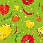 stock photo of pepper  - Colorful vector seamless pattern with bright fresh peppers - JPG