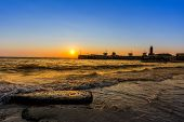stock photo of kanyakumari  - First Glimpse of Sunrise in Kanyakumari South India - JPG