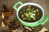picture of sorrel  - sorrel soup with dried mushrooms in a bowl - JPG