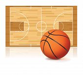 stock photo of basketball  - An illustration of a basketball and basketball court isolated on a white background - JPG