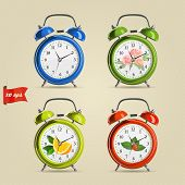 picture of analog clock  - Set vector illustration of realistic colorful alarm clock - JPG
