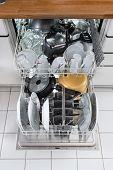stock photo of dishwasher  - Photo Of Utensils Arranged In Dishwasher In Kitchen - JPG