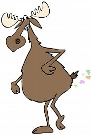 picture of fart  - This illustration depicts a bull moose lifting a leg and squeezing out a fart - JPG