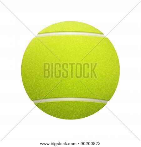 Single Tennis Ball Isolated On White Background.