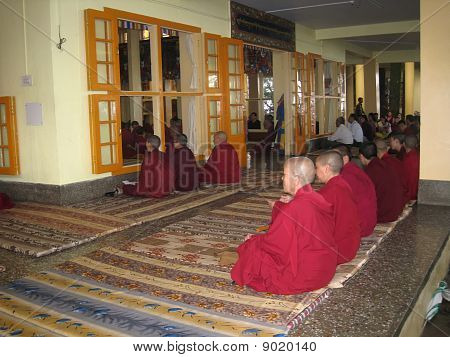Monks on prayer in Temple