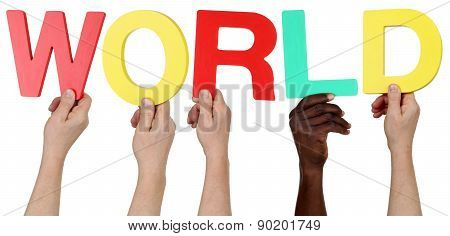 Multi Ethnic Group Of People Holding The Word World