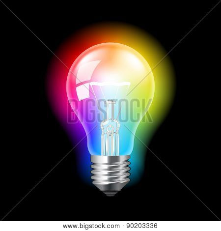 Bulb With Colorful Light Vector Background