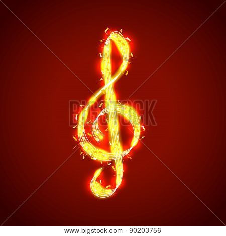 Treble Clef Of Notes, Musical Vector Background