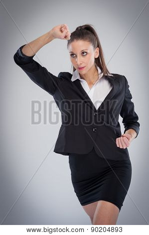 Smart Woman In Martial Arts Pose