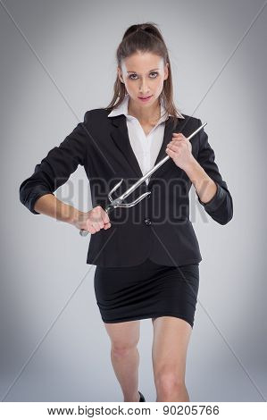 Woman Striking Pose With A Sword.