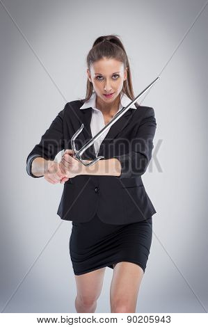Business Woman Fighting With Sword