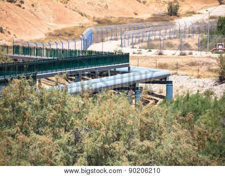 Large Water Pipe Line In The Negev Desert. Israel