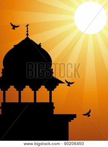 Minaret silhouette with sunlight
