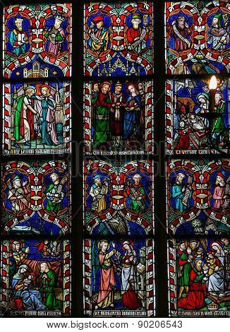 Scenes In The Life Of Mother Mary Stained Glass