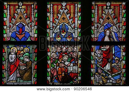 Stained Glass Window Depicting Scenes In The Life Of Jesus Christ