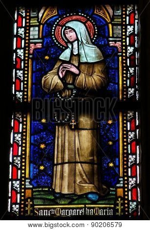 Stained Glass Window Depicting The Catholic Saint Margaret Mary Alacoque