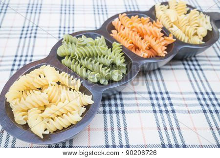 Multicolor Fusilli Prepare For Pasta Cuisine
